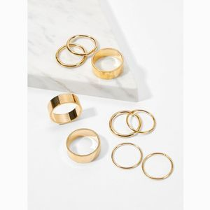 Gold Midi and Knuckle Wide Ring Set